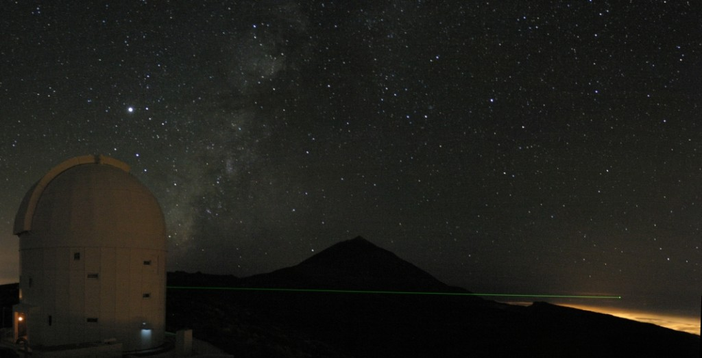 Optical Ground Station, Tenerife, pointing in the direction of La Palma, where the quantum transmitter was located.